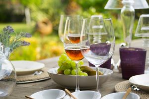 French spirits being enjoyed with grapes